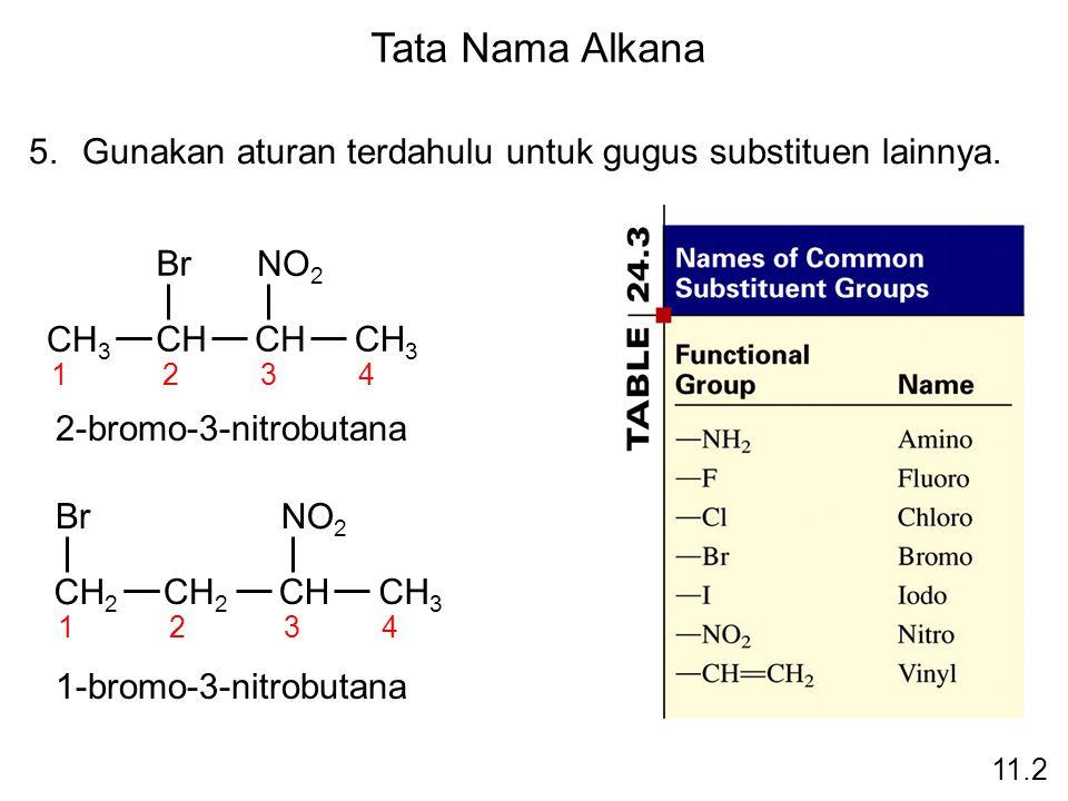 11.2 Tata Nama Alkana 5.Gunakan aturan terdahulu untuk gugus substituen lainnya. CH 3 CH CH 3 Br 1234 NO 2 2-bromo-3-nitrobutana CH 2 CHCH 3 Br 1234 N