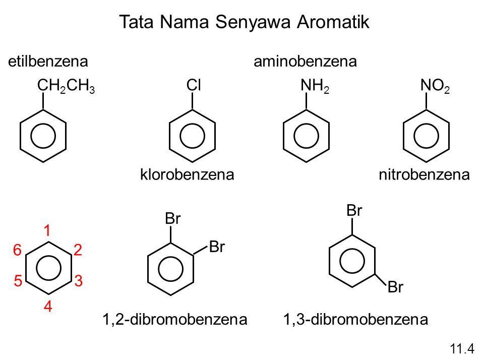 Tata Nama Senyawa Aromatik CH 2 CH 3 etilbenzena Cl klorobenzena NH 2 aminobenzena NO 2 nitrobenzena 1 2 3 4 5 6 Br 1,2-dibromobenzena Br 1,3-dibromob