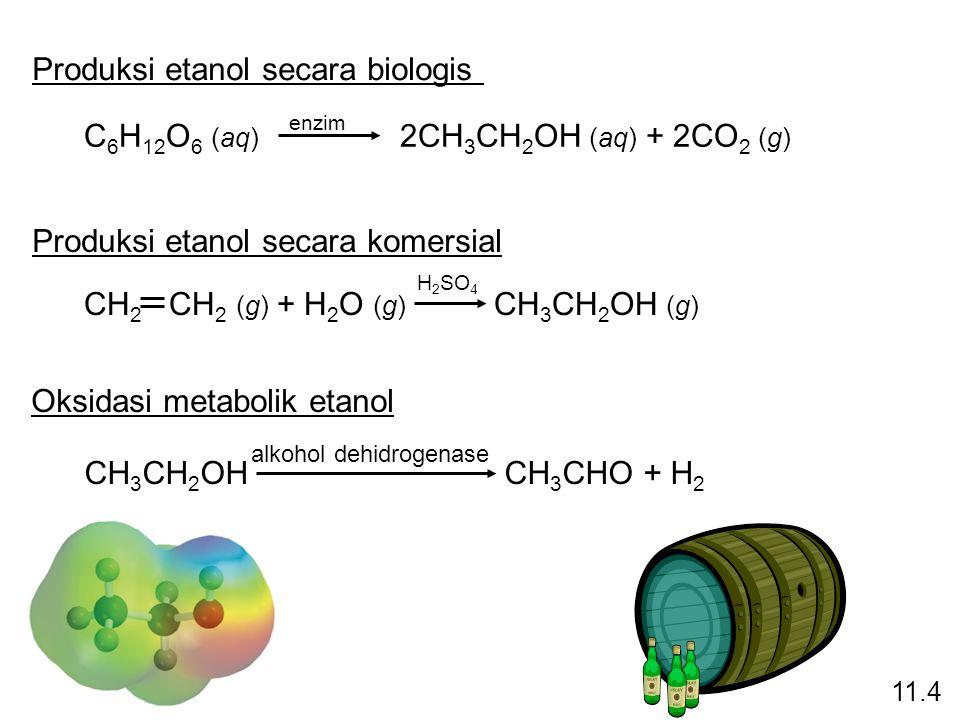 C 6 H 12 O 6 (aq) 2CH 3 CH 2 OH (aq) + 2CO 2 (g) enzim CH 2 CH 2 (g) + H 2 O (g) CH 3 CH 2 OH (g) H 2 SO 4 Produksi etanol secara biologis Produksi et