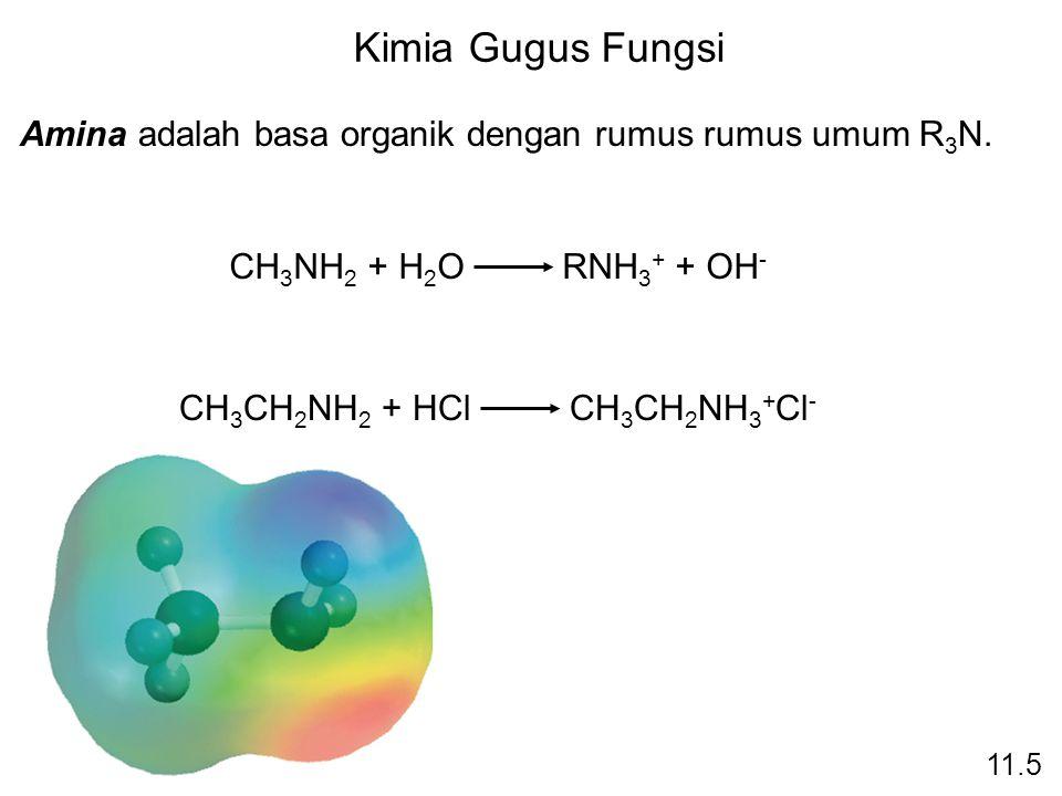 Kimia Gugus Fungsi Amina adalah basa organik dengan rumus rumus umum R 3 N. CH 3 NH 2 + H 2 O RNH 3 + + OH - CH 3 CH 2 NH 2 + HCl CH 3 CH 2 NH 3 + Cl