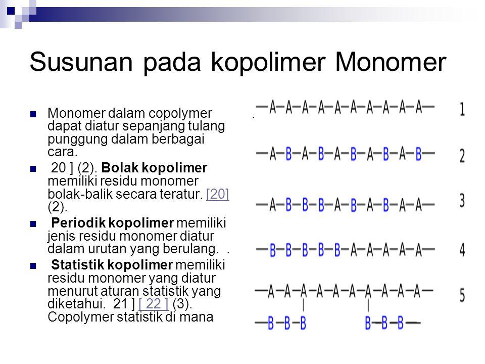 Susunan pada kopolimer Monomer Monomer dalam copolymer dapat diatur sepanjang tulang punggung dalam berbagai cara. 20 ] (2). Bolak kopolimer memiliki
