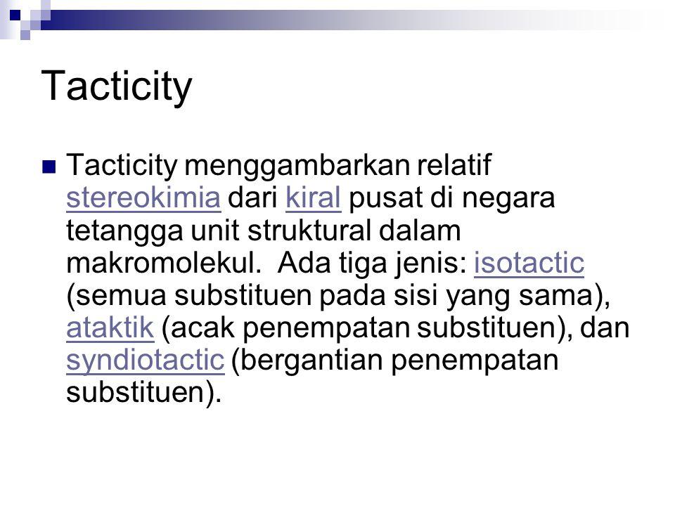 Tacticity Tacticity menggambarkan relatif stereokimia dari kiral pusat di negara tetangga unit struktural dalam makromolekul. Ada tiga jenis: isotacti