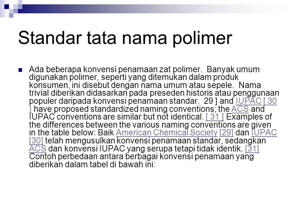 Standar tata nama polimer Ada beberapa konvensi penamaan zat polimer. Banyak umum digunakan polimer, seperti yang ditemukan dalam produk konsumen, ini