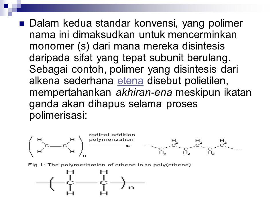 Dalam kedua standar konvensi, yang polimer nama ini dimaksudkan untuk mencerminkan monomer (s) dari mana mereka disintesis daripada sifat yang tepat s