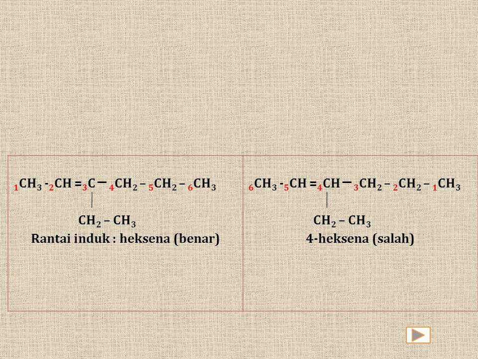 1 CH 3 - 2 CH = 3 C ─ 4 CH 2 – 5 CH 2 – 6 CH 3 CH 2 – CH 3 Rantai induk : heksena (benar) 6 CH 3 - 5 CH = 4 CH ─ 3 CH 2 – 2 CH 2 – 1 CH 3 CH 2 – CH
