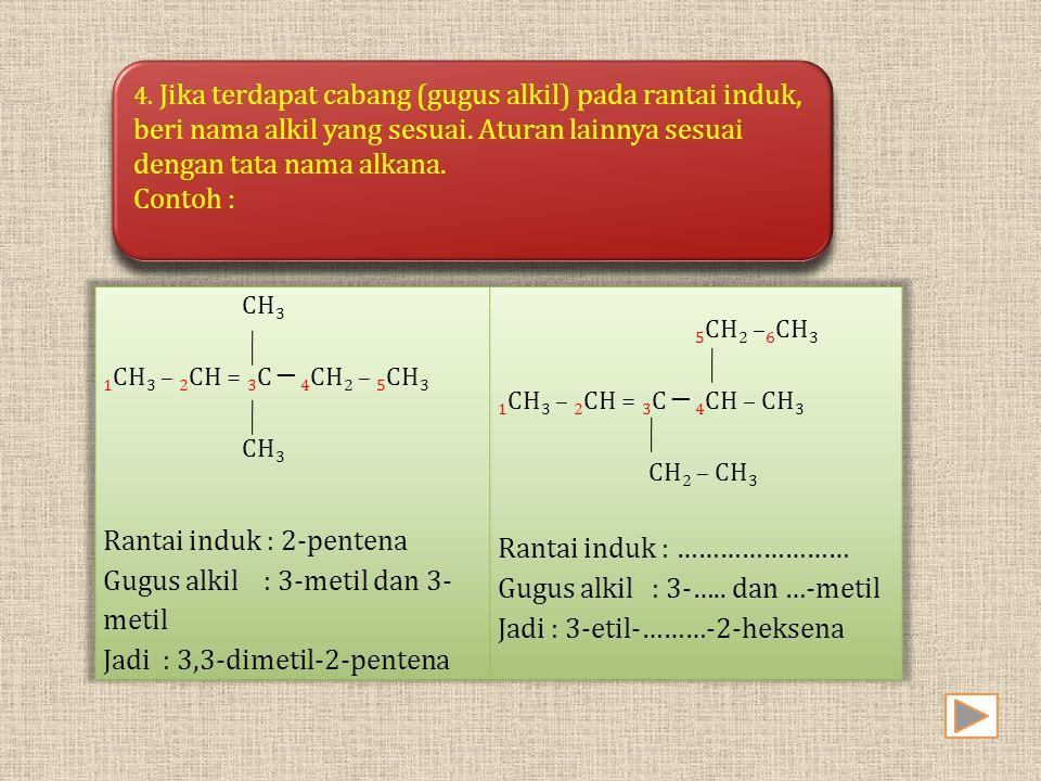 4. Jika terdapat cabang (gugus alkil) pada rantai induk, beri nama alkil yang sesuai. Aturan lainnya sesuai dengan tata nama alkana. Contoh : 4. Jika