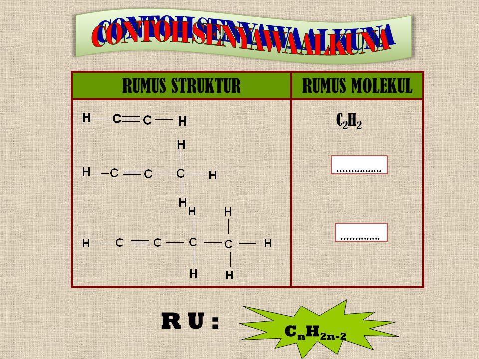 RUMUS STRUKTURRUMUS MOLEKUL C2H2C2H2.............................. R U : C n H 2n-2