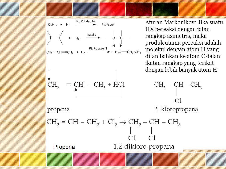 Aturan Markonikov: Jika suatu HX bereaksi dengan iatan rangkap asimetris, maka produk utama pereaksi adalah molekul dengan atom H yang ditambahkan ke