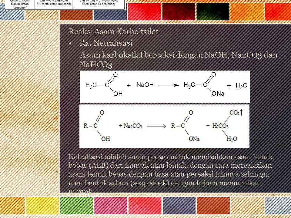 Reaksi Asam Karboksilat Rx. Netralisasi Asam karboksilat bereaksi dengan NaOH, Na2CO3 dan NaHCO3 Netralisasi adalah suatu proses untuk memisahkan asam