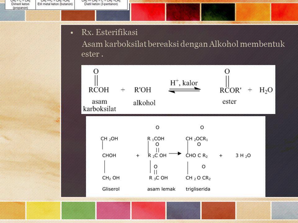 Rx. Esterifikasi Asam karboksilat bereaksi dengan Alkohol membentuk ester.