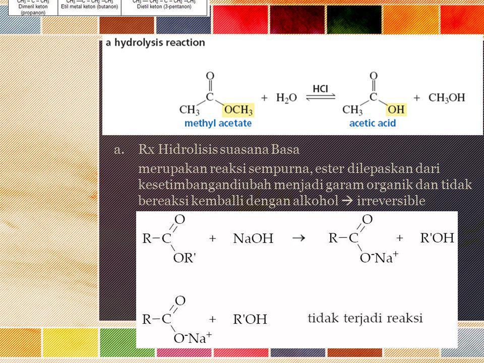 a.Rx Hidrolisis suasana Basa merupakan reaksi sempurna, ester dilepaskan dari kesetimbangandiubah menjadi garam organik dan tidak bereaksi kemballi de