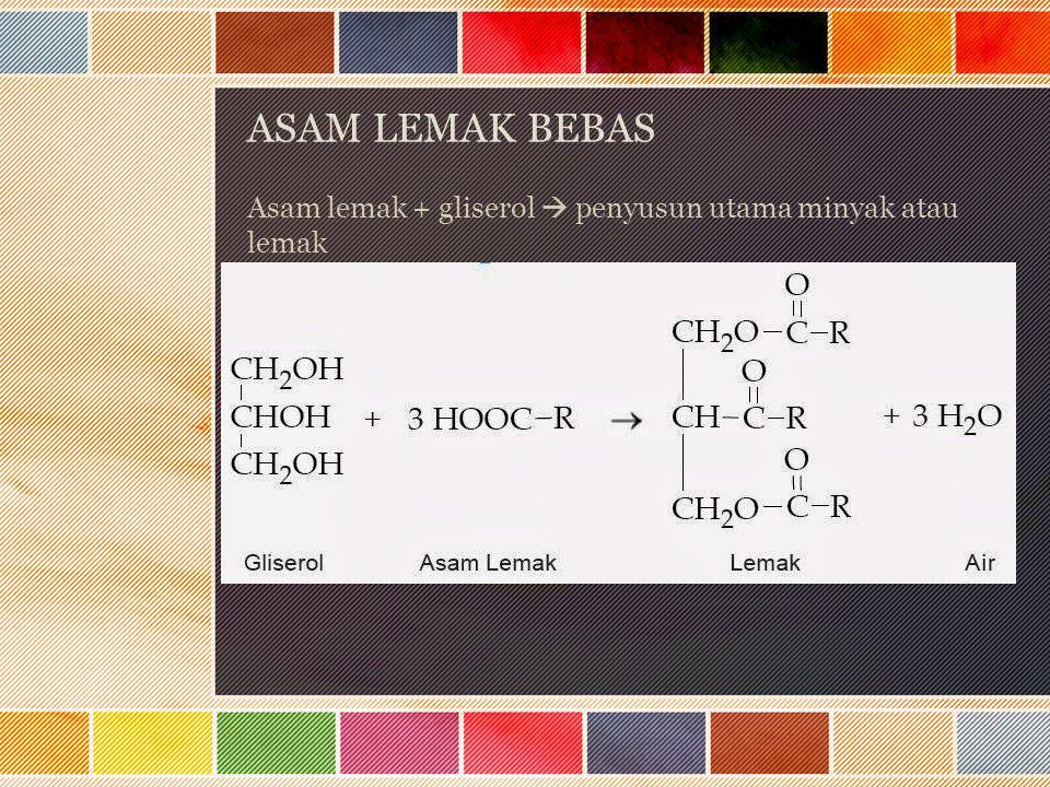 ASAM LEMAK BEBAS Asam lemak + gliserol  penyusun utama minyak atau lemak