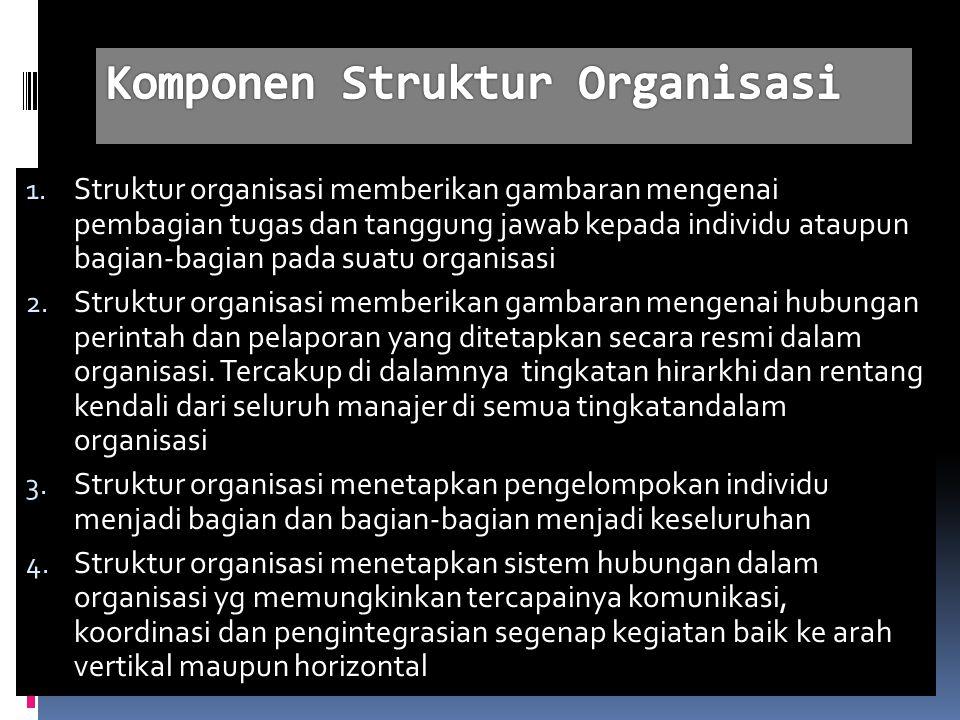 1. Struktur organisasi memberikan gambaran mengenai pembagian tugas dan tanggung jawab kepada individu ataupun bagian-bagian pada suatu organisasi 2.