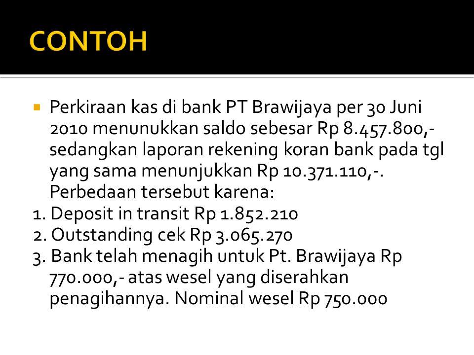  Perkiraan kas di bank PT Brawijaya per 30 Juni 2010 menunukkan saldo sebesar Rp 8.457.800,- sedangkan laporan rekening koran bank pada tgl yang sama