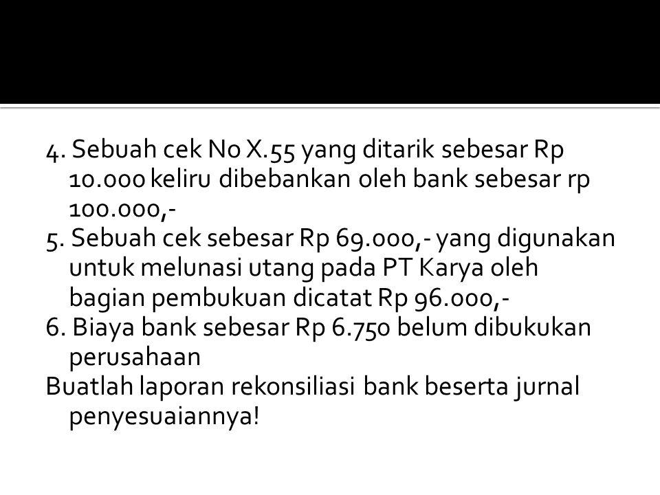 4. Sebuah cek No X.55 yang ditarik sebesar Rp 10.000 keliru dibebankan oleh bank sebesar rp 100.000,- 5. Sebuah cek sebesar Rp 69.000,- yang digunakan