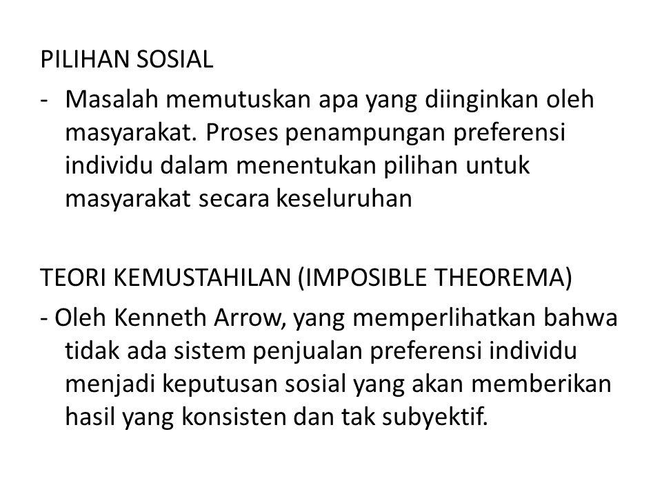 PILIHAN SOSIAL -Masalah memutuskan apa yang diinginkan oleh masyarakat. Proses penampungan preferensi individu dalam menentukan pilihan untuk masyarak