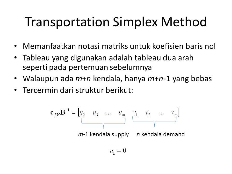 Transportation Simplex Method Memanfaatkan notasi matriks untuk koefisien baris nol Tableau yang digunakan adalah tableau dua arah seperti pada pertemuan sebelumnya Walaupun ada m+n kendala, hanya m+n-1 yang bebas Tercermin dari struktur berikut: m-1 kendala supplyn kendala demand