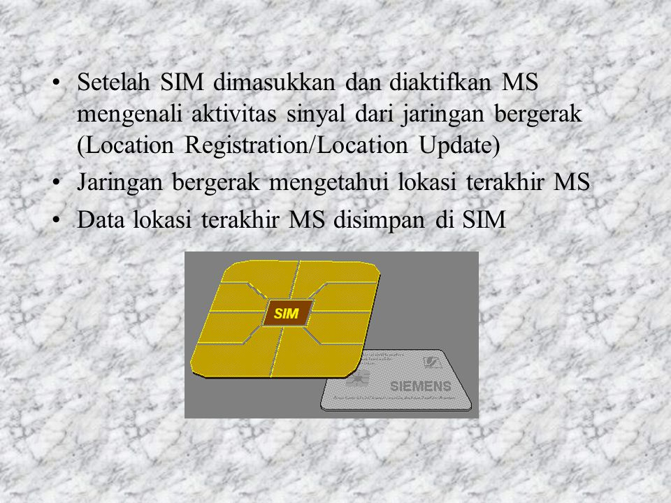 1.4 Fungsi & Aplikasi SIM SIM berupa chip card (mikroprosesor dengan memori) berisi data identitas pelanggan Data Sementara : –Identitas pelanggan sem