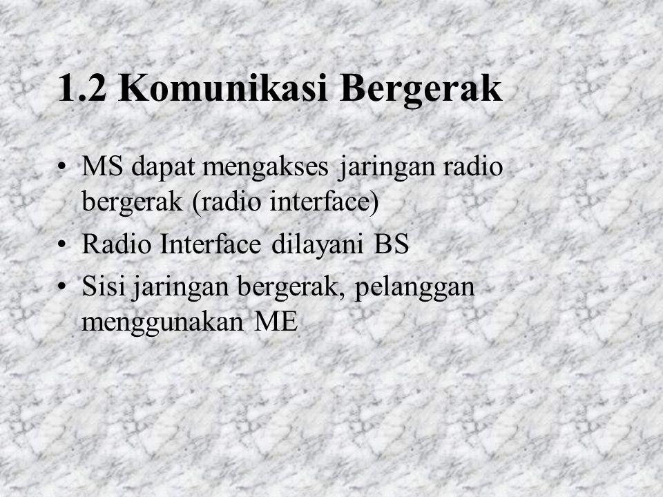 1.2 Komunikasi Bergerak MS dapat mengakses jaringan radio bergerak (radio interface) Radio Interface dilayani BS Sisi jaringan bergerak, pelanggan menggunakan ME