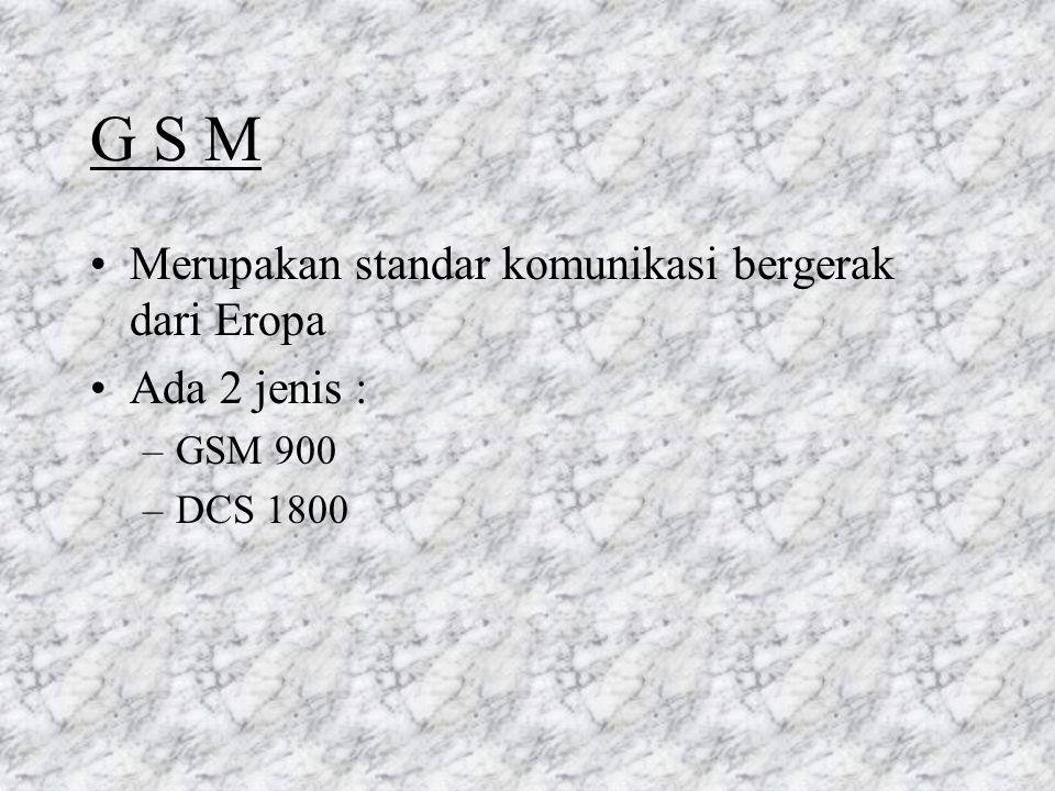 1.5 Kesimpulan GSM 900 & DCS 1800 adalah standar jaringan radio bergerak seluler digital dari ETSI Fitur dari GSM 900 & DCS 1800 : –radio interfacenya digital –MS dapat bergerak bebas nasional & internasional –Layanan telekomunikasi bergerak hanya dapat digunakan menggunakan SIM