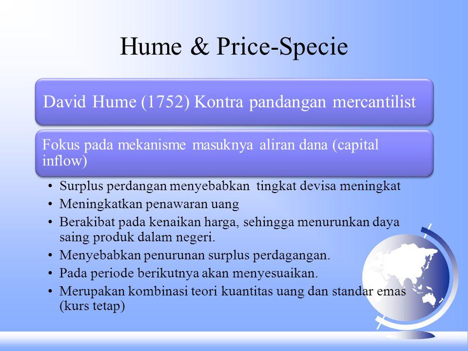 Hume & Price-Specie David Hume (1752) Kontra pandangan mercantilist Fokus pada mekanisme masuknya aliran dana (capital inflow) Surplus perdangan menye