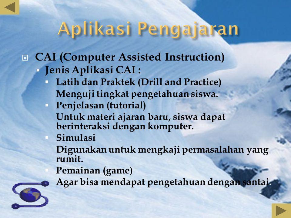  CAI (Computer Assisted Instruction)  Jenis Aplikasi CAI :  Latih dan Praktek (Drill and Practice) Menguji tingkat pengetahuan siswa.  Penjelasan