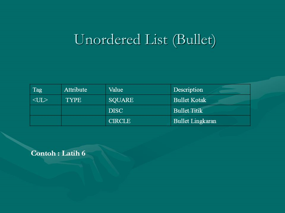 Unordered List (Bullet) TagAttributeValueDescription TYPESQUAREBullet Kotak DISCBullet Titik CIRCLEBullet Lingkaran Contoh : Latih 6