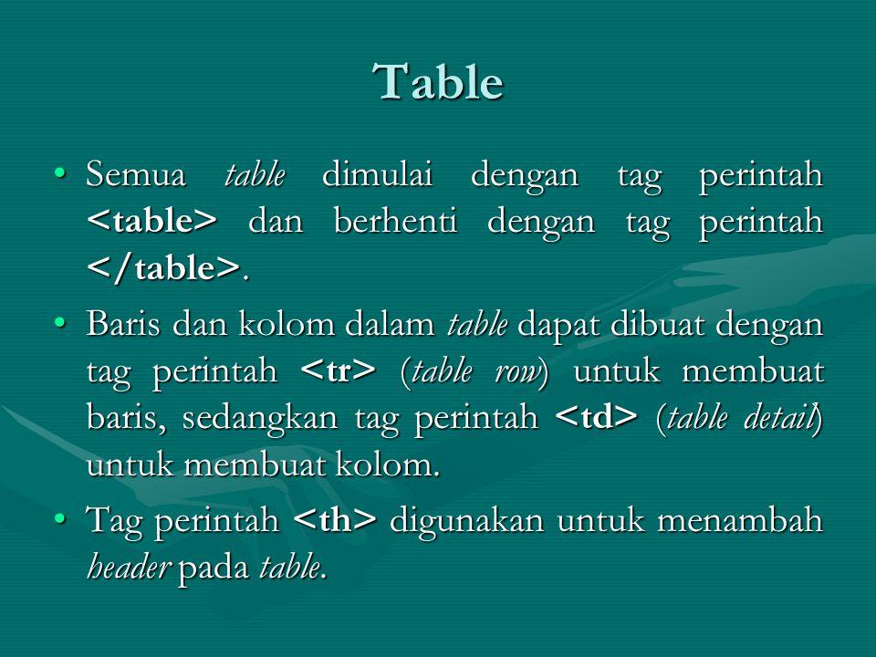 Table Semua table dimulai dengan tag perintah dan berhenti dengan tag perintah.Semua table dimulai dengan tag perintah dan berhenti dengan tag perintah.
