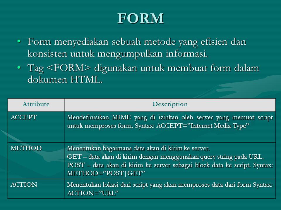 FORM Form menyediakan sebuah metode yang efisien dan konsisten untuk mengumpulkan informasi.Form menyediakan sebuah metode yang efisien dan konsisten untuk mengumpulkan informasi.