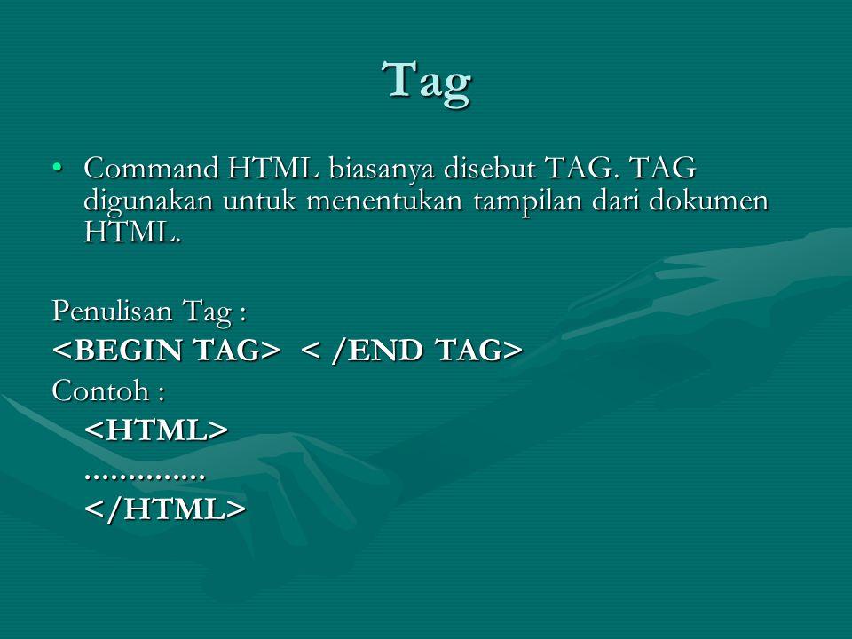 Penulisan Tag Bentuk dari tag HTML sebagai berikut: Contoh : Element - nama tag Attribute - atribut dari tag Value - nilai dari atribut.