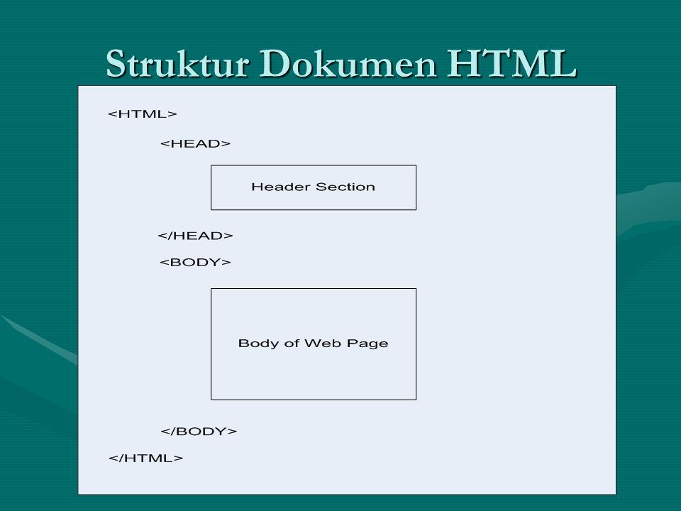 HTMLHTML HeadHead – … – … TitleTitle – … – … BodyBody – … – … ParagrafParagraf – … – … Line BreakLine Break – – HeadingHeading – … – … PenggarisPenggaris – –