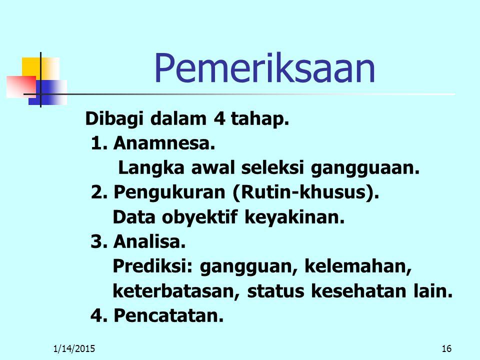 1/14/201516 Pemeriksaan Dibagi dalam 4 tahap. 1. Anamnesa.