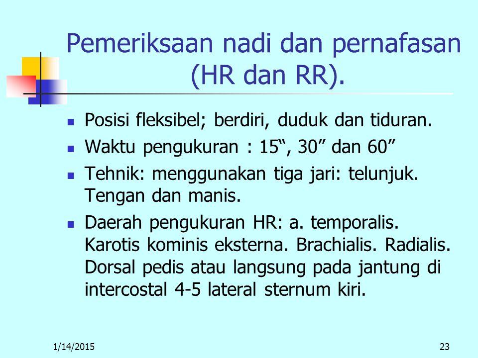 1/14/201523 Pemeriksaan nadi dan pernafasan (HR dan RR).