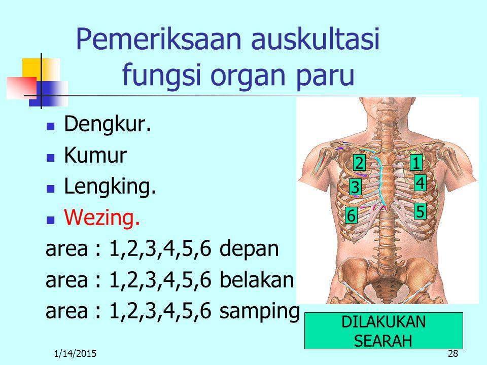 1/14/201528 Pemeriksaan auskultasi fungsi organ paru Dengkur.