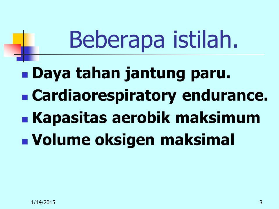 1/14/20153 Beberapa istilah. Daya tahan jantung paru.