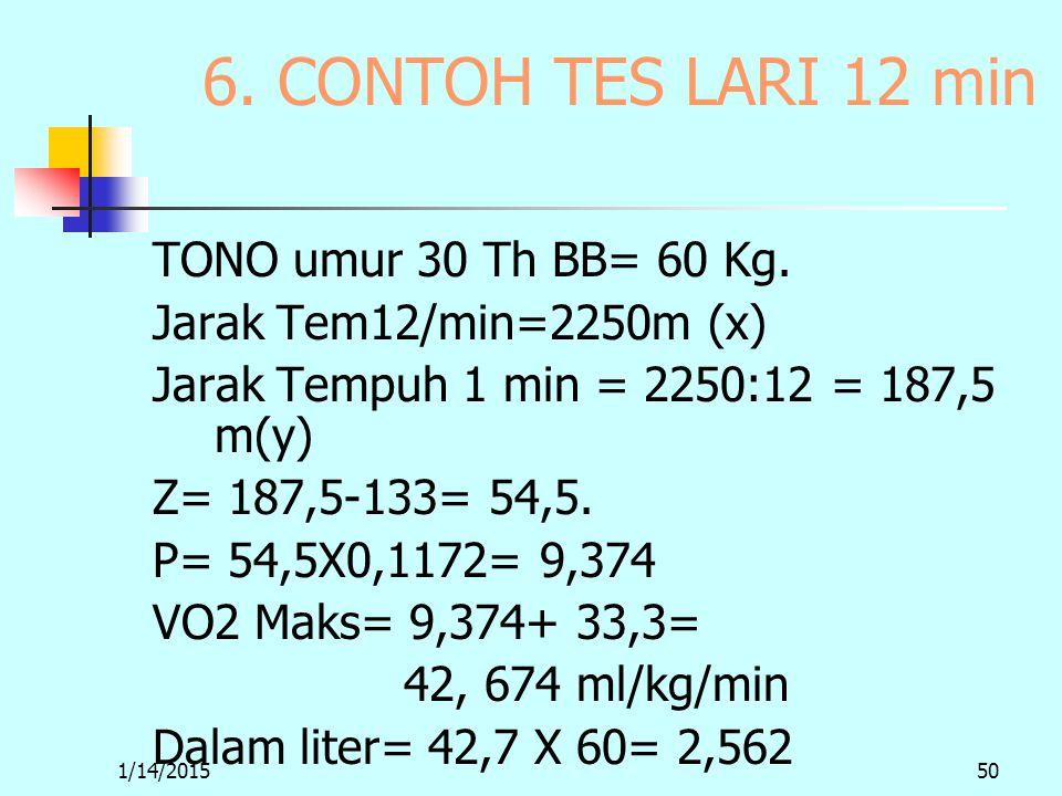1/14/201550 6. CONTOH TES LARI 12 min TONO umur 30 Th BB= 60 Kg.