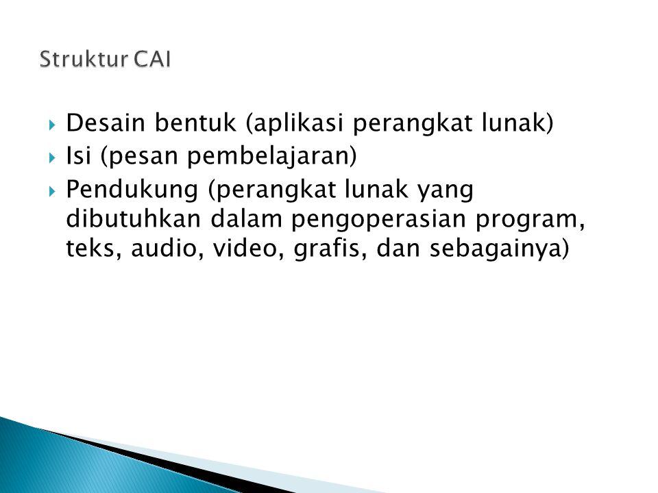  Desain bentuk (aplikasi perangkat lunak)  Isi (pesan pembelajaran)  Pendukung (perangkat lunak yang dibutuhkan dalam pengoperasian program, teks,