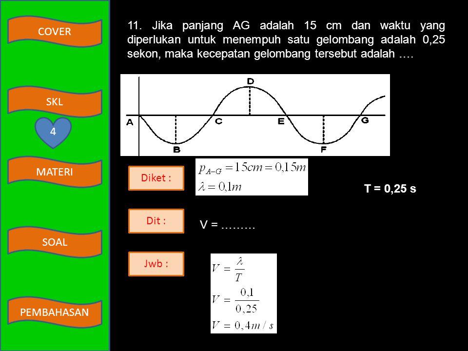 COVER MATERI SKL SOAL PEMBAHASAN Diket : s = 200 cm = 2 m Dit : W = ……… Jwb : W = F.s = 400.2 = 800 joule 9 3