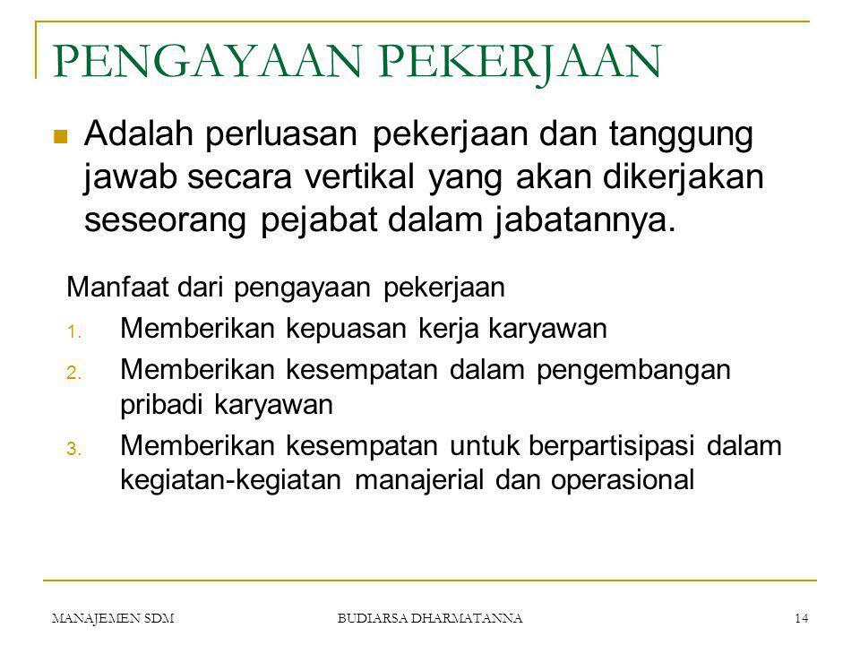 MANAJEMEN SDM BUDIARSA DHARMATANNA 13 Agar tidak ada pemborosan, kita harus melakukan spesialisasi kerja yang lebih mendetail.