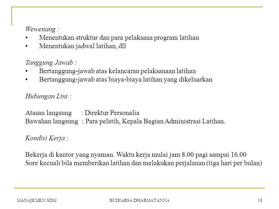 MANAJEMEN SDM BUDIARSA DHARMATANNA 17 PERUSAHAAN PARAMITA Uraian Pekerjaan Nama Jabatan: Manajer Latihan & Pengembangan Kode Jabatan: A-25537 Dep.