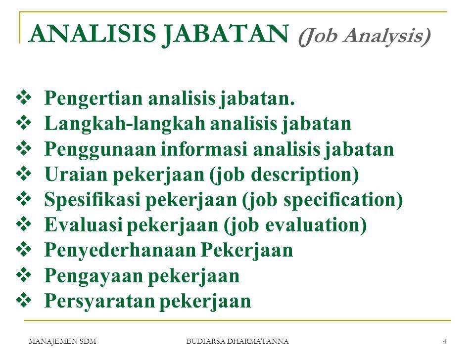 MANAJEMEN SDM BUDIARSA DHARMATANNA 3 Apa artinya kita harus terlebih dahulu menempatkan pekerjaan-pekerjaannya berdasarkan uraian pekerjaan.