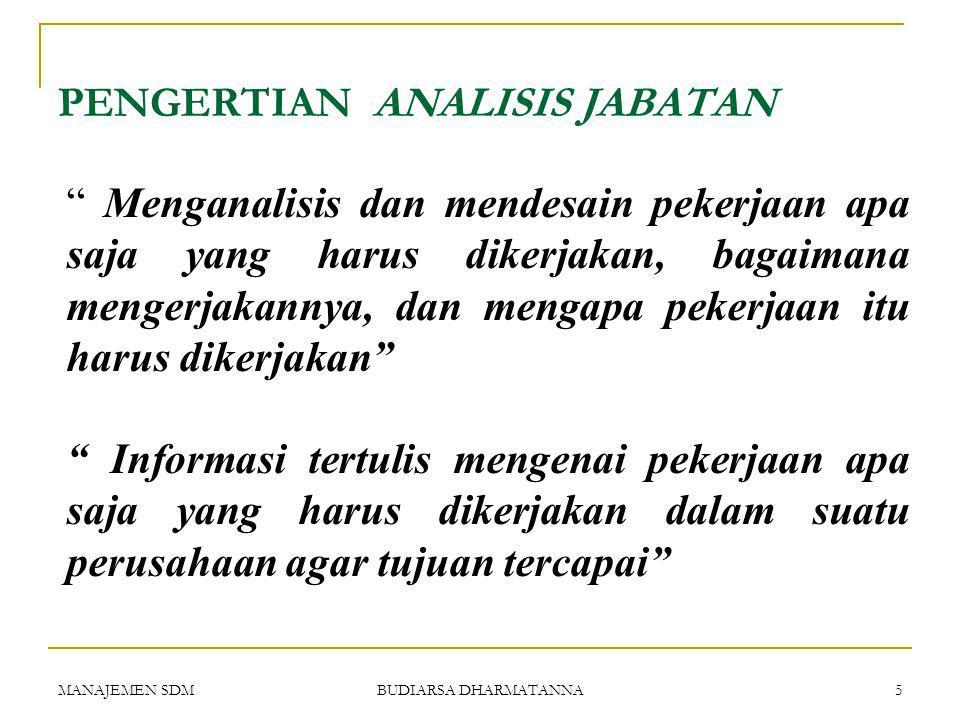 MANAJEMEN SDM BUDIARSA DHARMATANNA 4 ANALISIS JABATAN (Job Analysis)  Pengertian analisis jabatan.