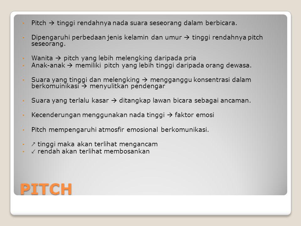 PITCH Pitch  tinggi rendahnya nada suara seseorang dalam berbicara.