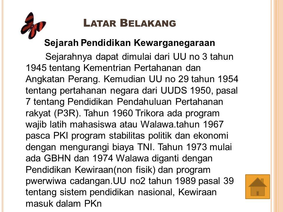 D ASAR H UKUM UUD 1945 pasal 27 (3) UUD 1954 pasal 30 (1) UUD 1945 pasal 31 (1) UU No 20 tahun 1982 tentang Pokok-pokok Pertahanan Keamanan Negara pasal 9 (1 dan 2) PP 30 tahun 1990 jo Keputusan Mendikbud No 056/U/1994 tentang Pedoman Penyusunan Kurikulum Pendidikan Tinggi dan Penilaian Hasil Belajar Mahasiswa pasal 9 UU No 3 tahun 2002 tentang Pertahanan Negara pasal 9 (1 dan 2) UU No 20 tahun 2003 tentang Sistem Pendidikan Nasional pasal 37 (2)