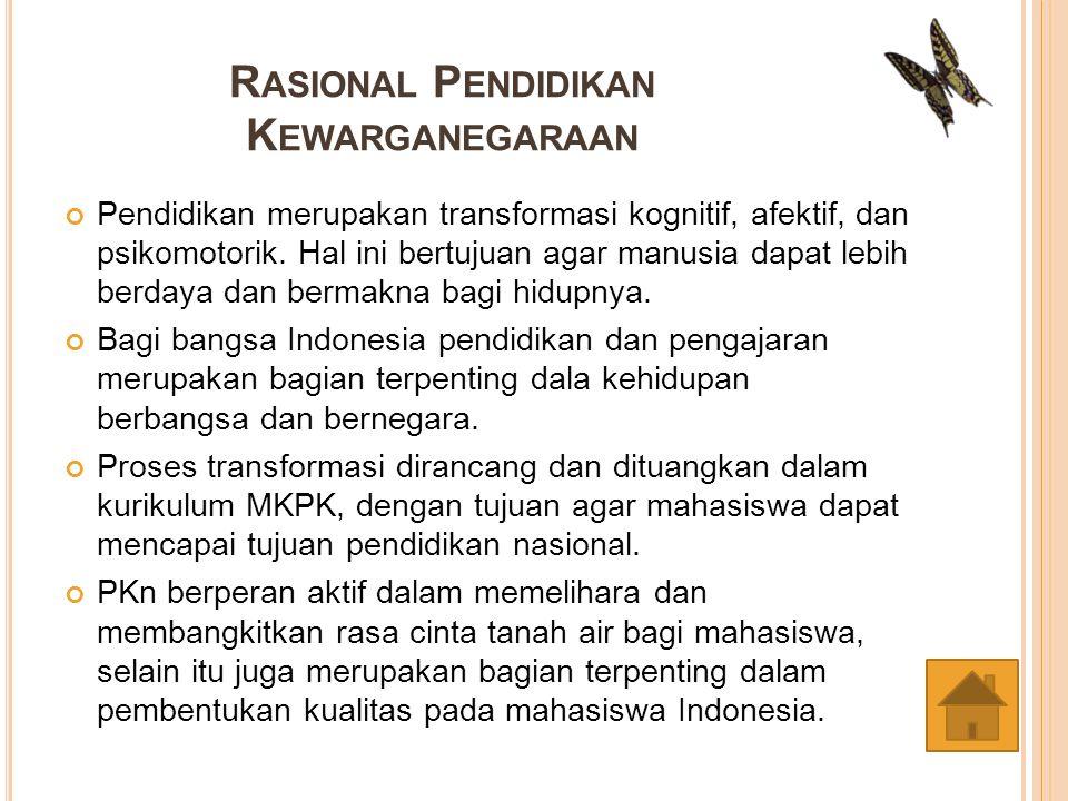 K OMPETENSI YANG D IHARAPKAN Dapat memahami dan melaksanakan hak dan kewajiban sebagai warga negara terdidik.
