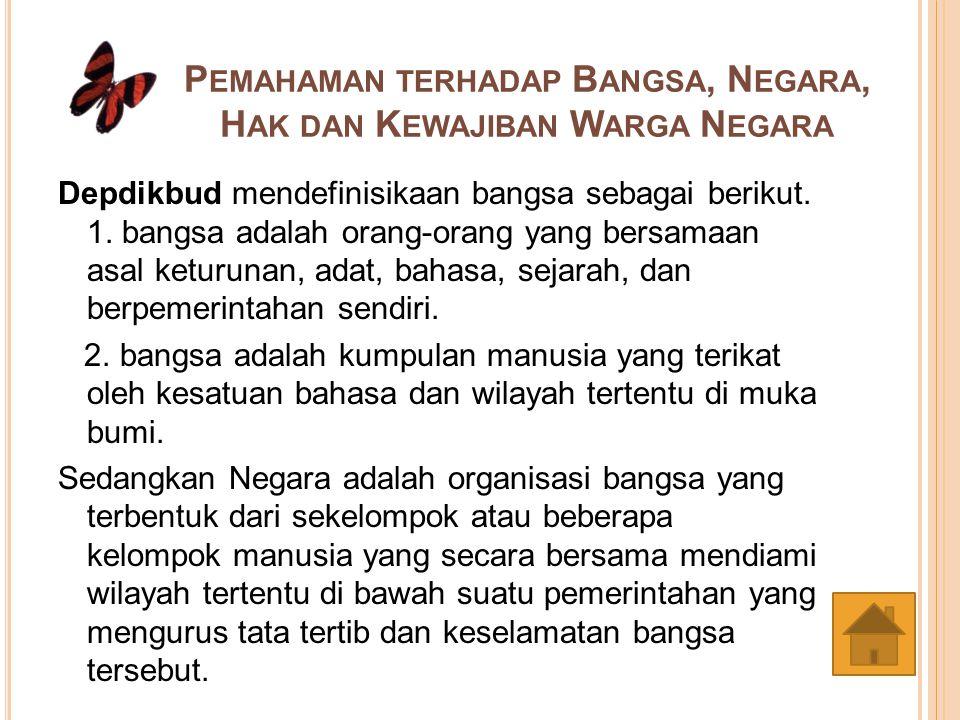 H UBUNGAN ANTARA W ARGA N EGARA DAN N EGARANYA 3 Jenis Hubungan antara Warga Negara dengan Negaranya yakni : 1.