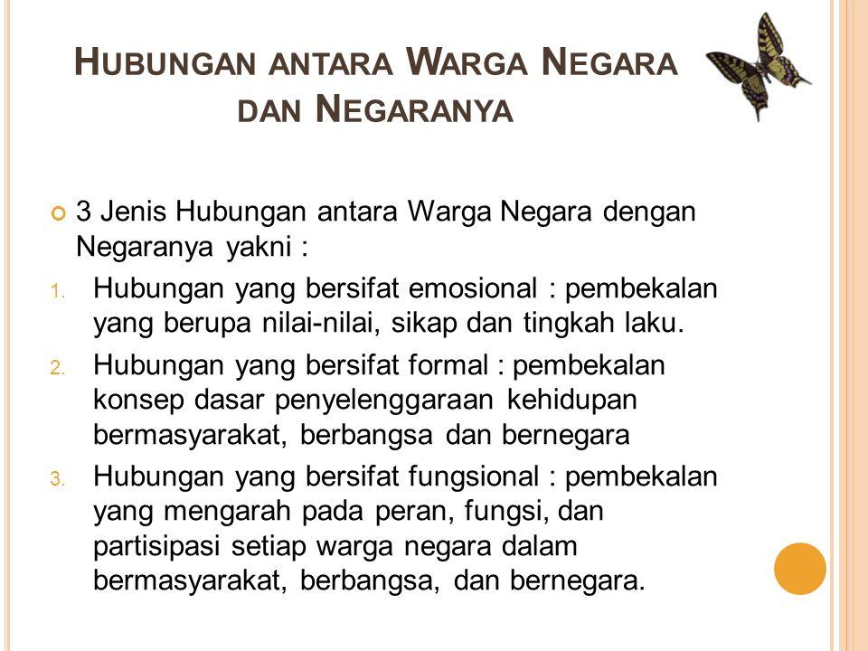 Hubungan antara Warga Negara dengan Negara Indonesia diatur dalam pasal-pasal UUD 1945 yakni : 1.