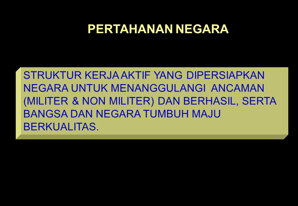 3 PERTAHANAN NEGARA STRUKTUR KERJA AKTIF YANG DIPERSIAPKAN NEGARA UNTUK MENANGGULANGI ANCAMAN (MILITER & NON MILITER) DAN BERHASIL, SERTA BANGSA DAN NEGARA TUMBUH MAJU BERKUALITAS.