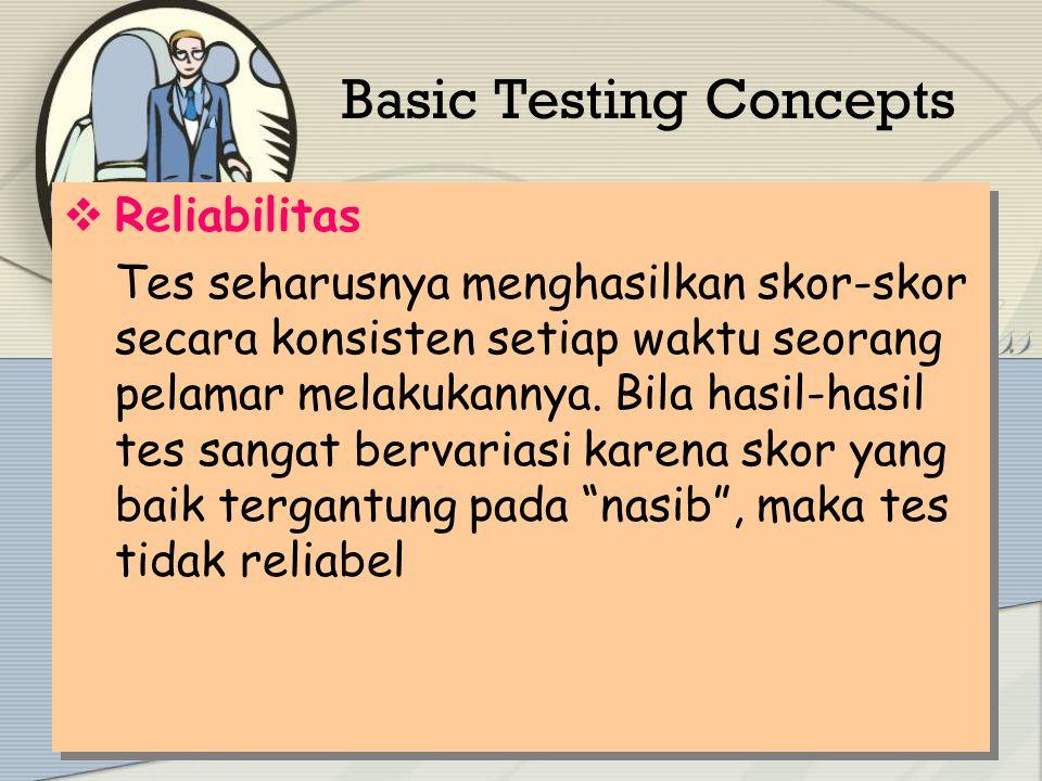 Basic Testing Concepts  Validitas Skor-skor tes mempunyai hubungan yang berarti (signifikan) dengan prestasi kerja atau dengan kriteria- kriteria relevan lainnya.