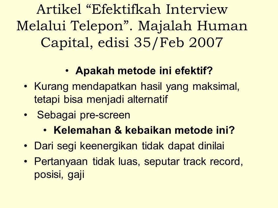Artikel Efektifkah Interview Melalui Telepon .